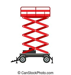 Red lift stand icon, flat style