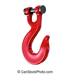 Red lifting crane hook isolated on background. - Red lifting...