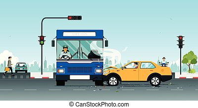 Red light accident - An accident on a bus collides with a...