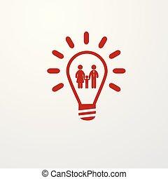 Red Light Bulb line icon, family symbol inside.
