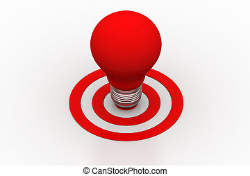 Red light bulb on the target sign