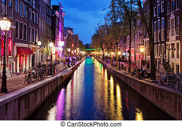 Red Light District by Night in Amsterdam