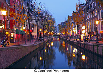 Red light district in Amsterdam the Netherlands at night