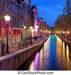 Red Light District in the Old Town of Amsterdam