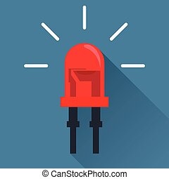 Red Light Emitting Diode. Flat design icon with long shadow