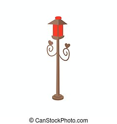 Red light icon, cartoon style