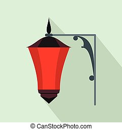 Red light icon, flat style - Red light icon in flat style on...