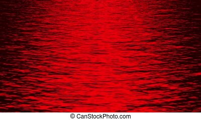 red light reflecting on ocean at night.80:sun, sea, sky, ...