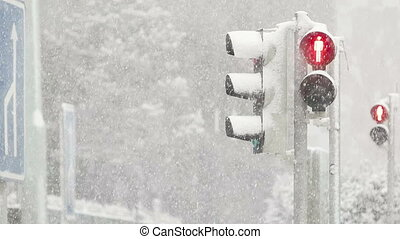 Red Light Shining During Blizzard