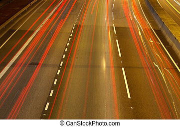 Red light trails on highway