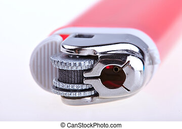 Red lighter isolated on white background
