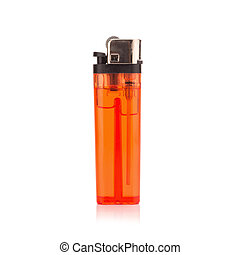 red lighter on white background
