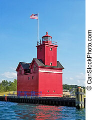 red lighthouse in Holland Michigan