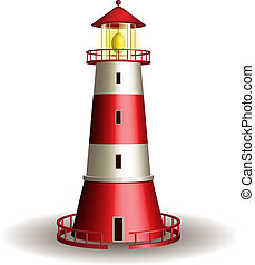 Red lighthouse isolated on white background. Vector...