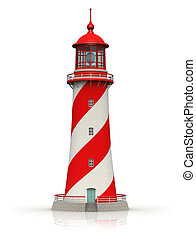 Red lighthouse isolated on white background with reflection effect