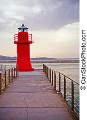 Red lighthouse of Ancona, Italy.