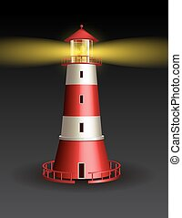 Red lighthouse on black background.