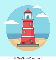 Red lighthouse on ocean or sea beach landscape with blue sky cartoon background vector illustration