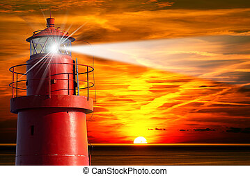 Red Lighthouse with Light Beam at Sunset