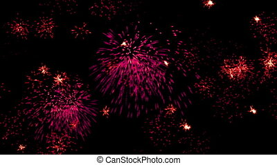 Red lights, multiple fireworks explosion, holiday night sky...