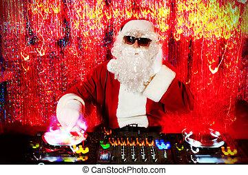 red lights - DJ Santa Claus mixing up some Christmas cheer....