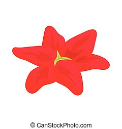 Red lily icon, cartoon style