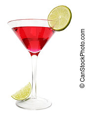 Red Lime Cocktail - Isolated red cocktail with lime slice...