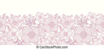 Red line art flowers horizontal seamless pattern border