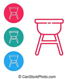 Red line Barbecue grill icon isolated on white background. BBQ grill party. Set icons in circle buttons. Vector Illustration