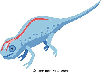 Red line blue lizard icon, isometric style