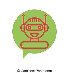 Red Line Chat Bot Icon on Speech Bubble. Artificial Intelligence Concept. Smiling Chatbot. Robot Virtual Assistance