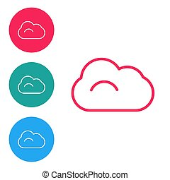 Red line Cloud icon isolated on white background. Set icons in circle buttons. Vector Illustration