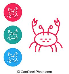 Red line Crab icon isolated on white background. Set icons in circle buttons. Vector