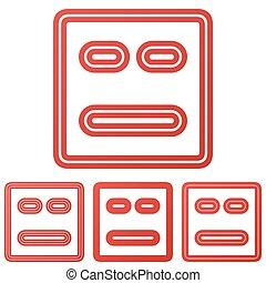 Red line face logo design set