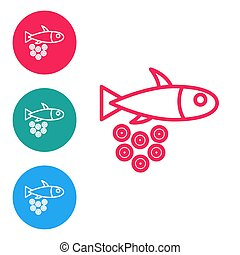 Red line Fish with caviar icon isolated on white background. Set icons in circle buttons. Vector