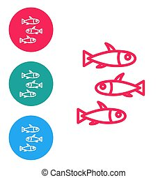 Red line Fishes icon isolated on white background. Set icons in circle buttons. Vector
