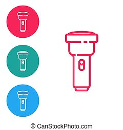 Red line Flashlight icon isolated on white background. Set icons in circle buttons. Vector Illustration