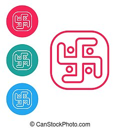 Red line Jainism icon isolated on white background. Set icons in circle buttons. Vector Illustration