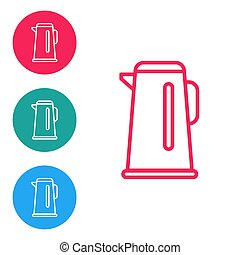 Red line Kettle with handle icon isolated on white background. Teapot icon. Set icons in circle buttons. Vector Illustration