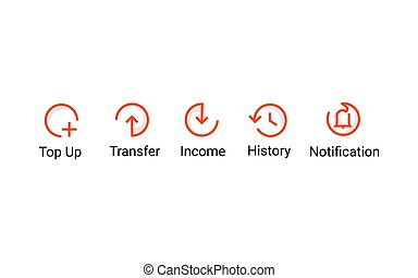 Red line minimalism icon flat financial template vector eps 10