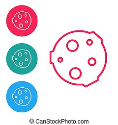 Red line Moon icon isolated on white background. Set icons in circle buttons. Vector Illustration