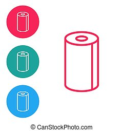Red line Paper towel roll icon isolated on white background. Set icons in circle buttons. Vector Illustration