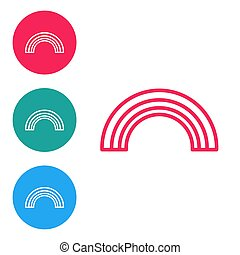 Red line Rainbow icon isolated on white background. Set icons in circle buttons. Vector Illustration
