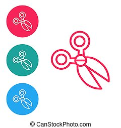 Red line Scissors icon isolated on white background. Cutting tool sign. Set icons in circle buttons. Vector