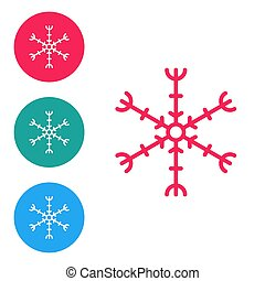 Red line Snowflake icon isolated on white background. Set icons in circle buttons. Vector Illustration