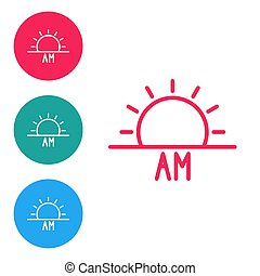 Red line Sunrise icon isolated on white background. Set icons in circle buttons. Vector Illustration