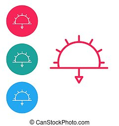 Red line Sunset icon isolated on white background. Set icons in circle buttons. Vector Illustration
