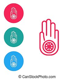 Red line Symbol of Jainism or Jain Dharma icon isolated on white background. Religious sign. Symbol of Ahimsa. Set icons in circle buttons. Vector Illustration