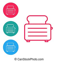 Red line Toaster with toasts icon isolated on white background. Set icons in circle buttons. Vector Illustration