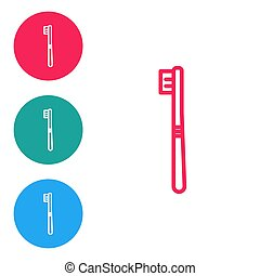 Red line Toothbrush icon isolated on white background. Set icons in circle buttons. Vector Illustration